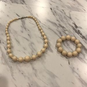 Cream Large Bead Necklace and Bracelet